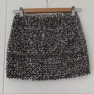 Boutique Silver Sequined Mini Skirt